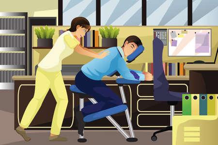 オフィスの椅子のマッサージを使用してクライアントに取り組むマッサージセラピストのイラスト