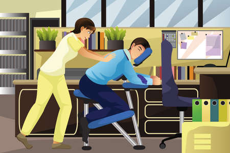 massaggio: Un esempio di massaggiatore lavora su un client che utilizza una sedia di massaggio in un ufficio Vettoriali