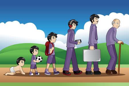 Una ilustración vectorial de una etapa diferente de la vida de un hombre de joven a viejo para el concepto de evolución