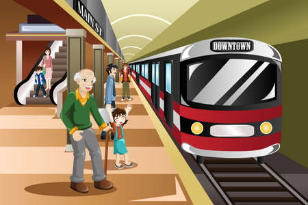tren caricatura: Una ilustración de personas esperando en una estación de tren Vectores