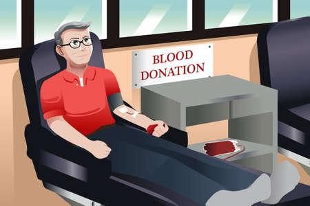 血液銀行に中央高齢者の寄付血のイラスト