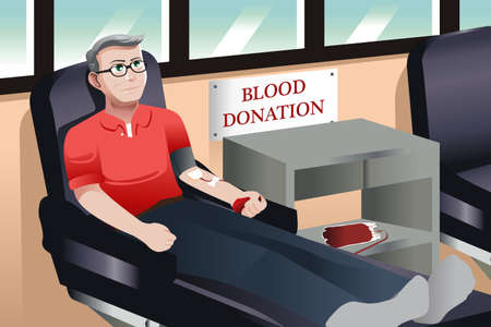 A illustration of middle aged donating blood in a blood bank Çizim