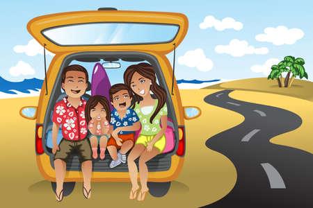 in the summer: Una ilustración de la familia feliz en un viaje por carretera