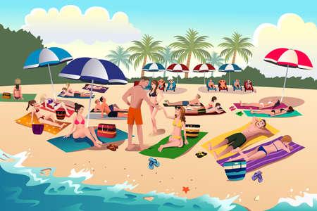 Een illustratie van de mensen te zonnebaden op het strand Stock Illustratie