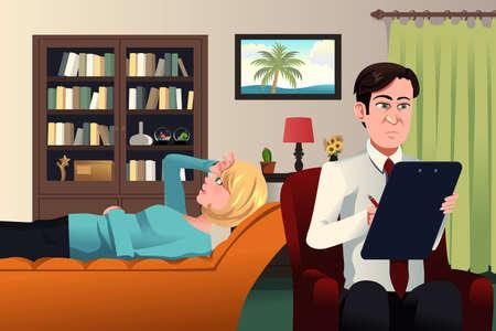 psicologia: Una ilustraci�n del psiquiatra que trabaja con un paciente