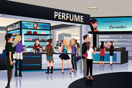 A illustration of shoppers shopping for cosmetic in a department store