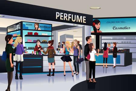 vendedor: Una ilustración de los compradores en la compra de cosméticos en una tienda por departamentos