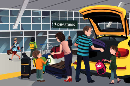 A illustration of family traveler unloading luggage outside the airport Stock Illustratie