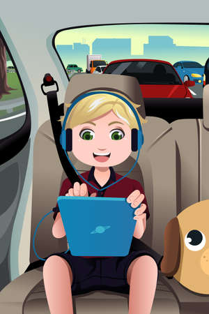 cartoon safety: A illustration of little boy riding a car using a tablet