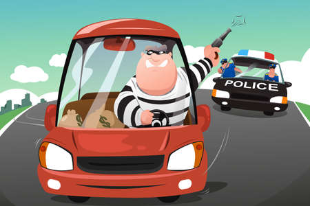 A illustration of police chasing criminals in a car on the highway