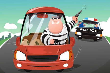 Una ilustración de los criminales persiguiendo la policía en un coche en la carretera
