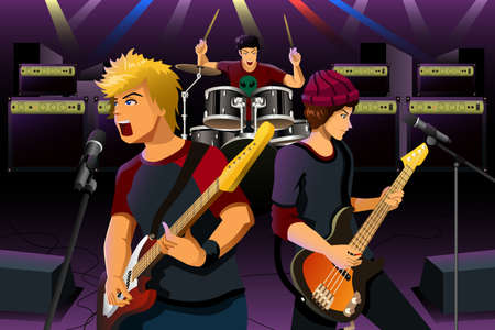 A illustration of group of teenagers in a rock band 向量圖像