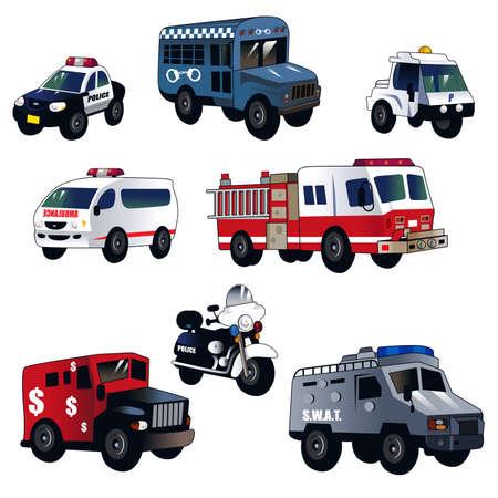 Een vector illustratie van cartoon rechtshandhaving auto's