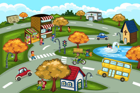 road bike: A vector illustration of city scene