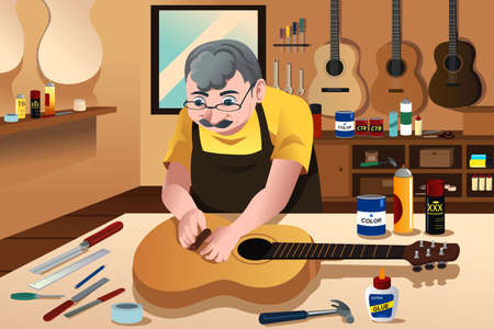 A vector illustration of guitar maker working in his workshop
