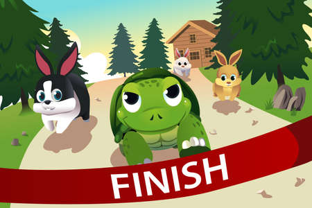 rabbit clipart: A vector illustration of turtle and hare racing to the finish line