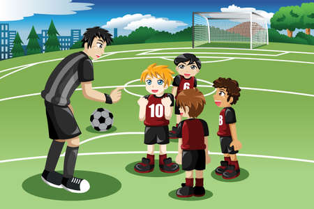A vector illustration of little kids in soccer field listening to their coach Vectores