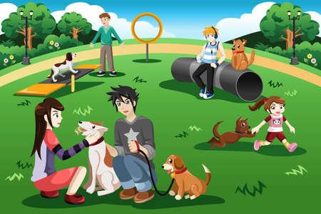 Een vector illustratie van mensen plezier hebben in een hond park
