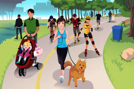 walking trail: A vector illustration of people in a park doing activities