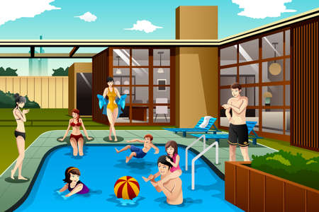 A vector illustration of family and friends spending time in the backyard swimming pool