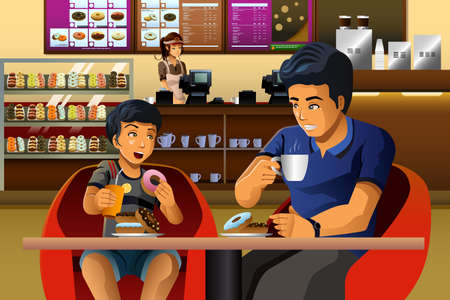 A vector illustration of father and son eating breakfast in a donuts shop Illustration