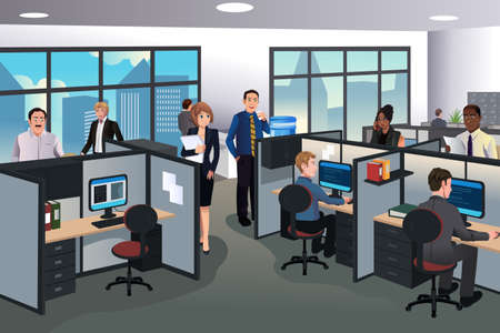 and white collar workers: A vector illustration of people working in the office