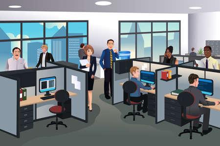 obreros trabajando: Una ilustraci�n vectorial de la gente que trabaja en la oficina