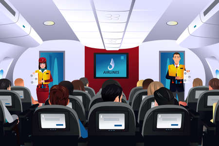 A vector illustration of flight attendant showing safety procedure to passengers