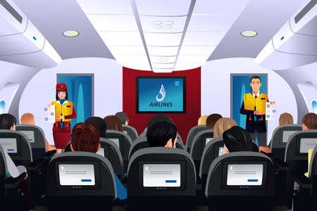 Una illustrazione vettoriale di assistente di volo che mostra procedura di sicurezza per i passeggeri