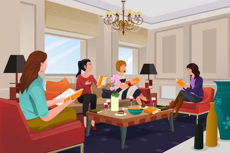 amigos hablando: Una ilustración vectorial de un grupo de mujeres en una reunión de club de lectura