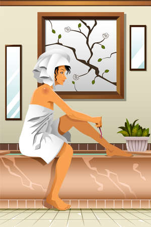 shaving: A vector illustration of beautiful woman shaving  her legs in the bathroom