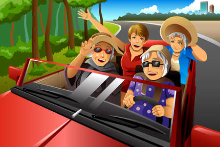 A vector illustration of happy stylish elderly women riding a car on a road trip Çizim
