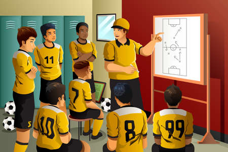 team: A vector illustration of soccer players in locker room listening to coach talking