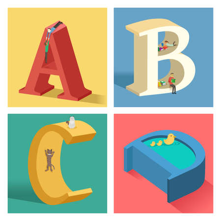 a d: A vector illustration of Alphabets concept in 3D from A to D