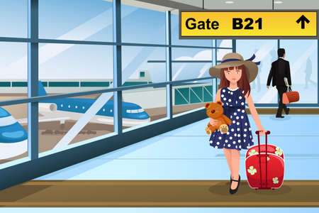 A vector illustration of Little cute girl traveling in the airport Иллюстрация