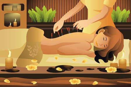 Una ilustración vectorial de la mujer se extiende a mesa de masaje, obteniendo la terapia de acupuntura