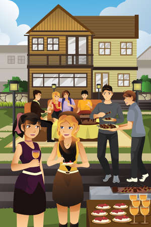 garden party: A vector illustration of young people having garden party