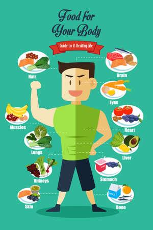vida saludable: Una ilustración vectorial de Infografía de alimentos sanos para el cuerpo