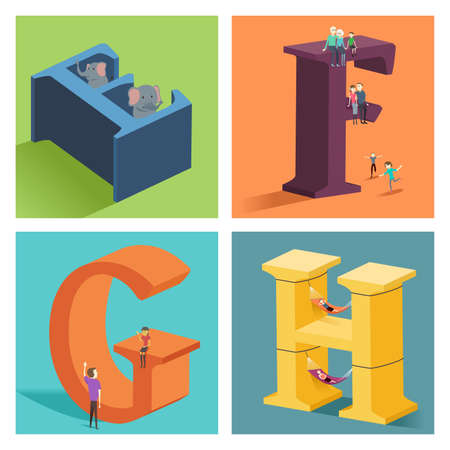 A vector illustration of alphabets concept in 3D from E to H
