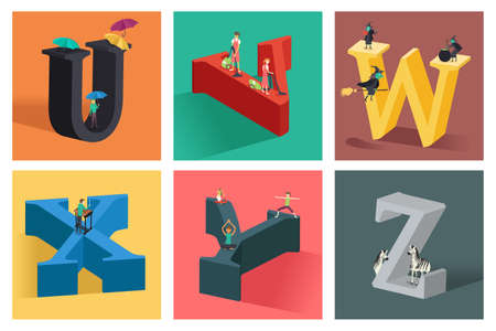 A vector illustration of alphabets concept in 3D from U to Z