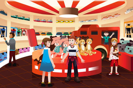 A vector illustration of happy kids in a toy store Çizim