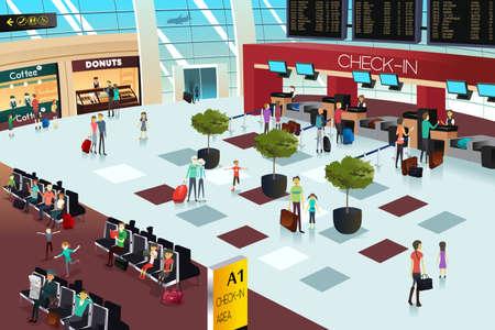 gente aeropuerto: Una ilustraci�n vectorial de dentro de la escena del aeropuerto Vectores