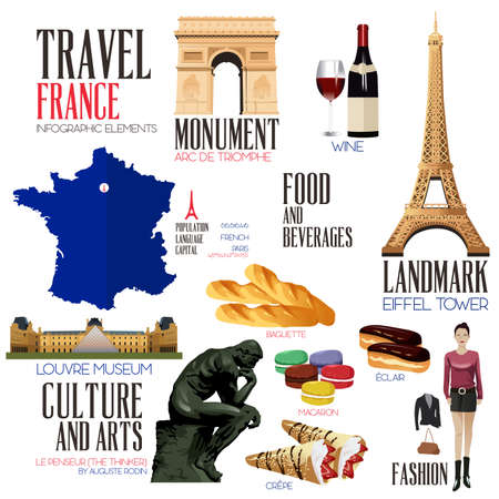 french culture: A vector illustration of Infographic elements for traveling to France Illustration