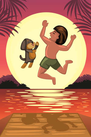 dock: A vector illustration of boy and his dog jumping off the dock Illustration