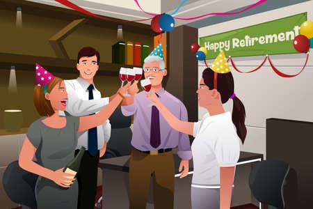 Een vector illustratie van de werknemers in het kantoor viert een gelukkig pensioen partij van een collega