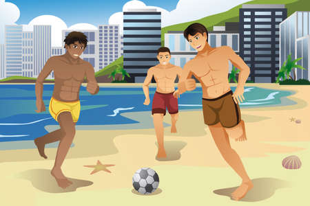 A vector illustration of young men playing soccer on the beach