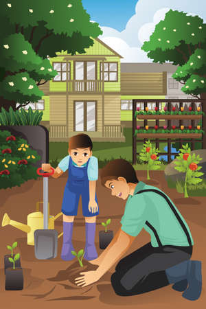 A vector illustration of father and son planting in the garden together
