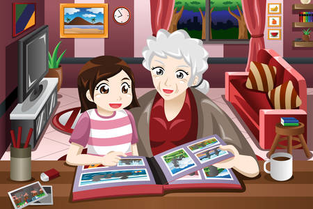 A vector illustration of grandma and granddaughter looking at picture album Ilustrace