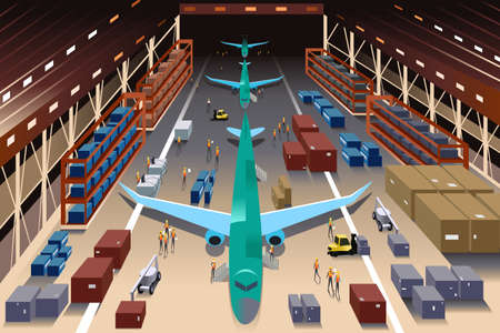 A vector illustration of workers in an airplane factory
