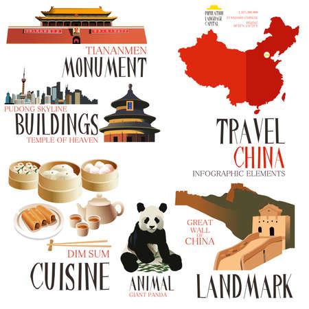 utazási: A vektoros illusztráció Infographic elemek Kínába utazó Illusztráció